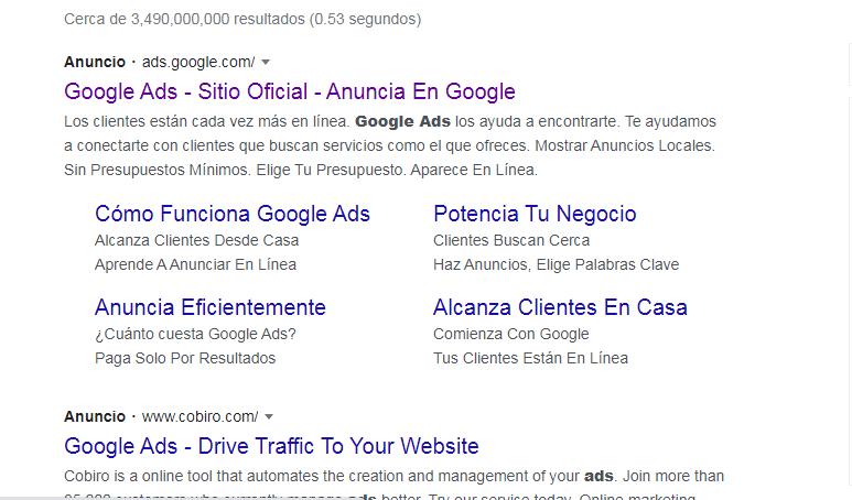 Anuncio en los primeros resultados de búsqueda de Google
