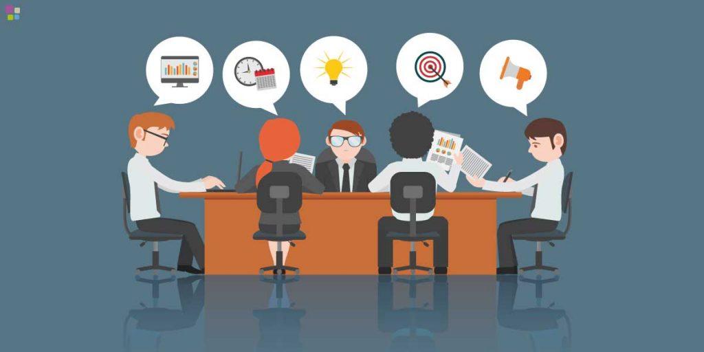 gráfica de equipo laboral reunido en oficina