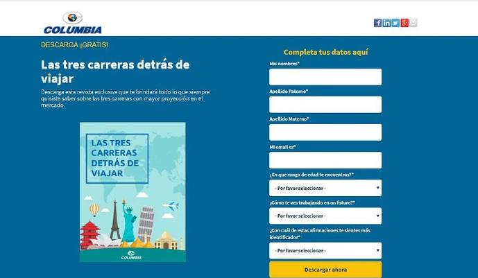 Pagina web de Instituto Columbia aplica estrategias de inbound marketing