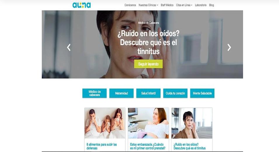 pagina web de Red de Clínicas AUNA ejemplos de servicios de inbound marketing