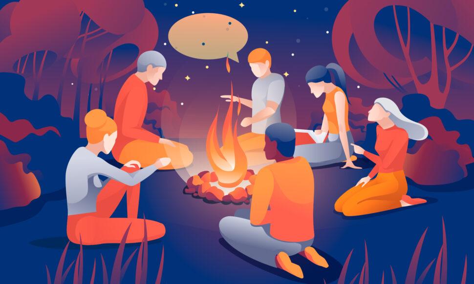 ilustración de grupo de personas escuchando sobre los servicios de Storytelling